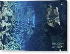 Dry Suit Divers Entering The Gin Clear Acrylic Print by Mathieu Meur