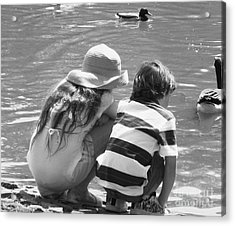 Acrylic Print featuring the photograph Duck Pond Siblings by Ann Johndro-Collins