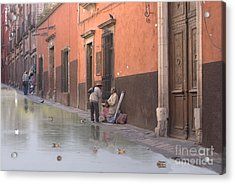 Acrylic Print featuring the digital art Ducks Swimming On Calle Reloje by John  Kolenberg