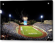 Duke Fireworks At A Packed Wallace Wade Stadium Acrylic Print by Lance King