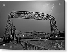Duluth Lift Bridge Under Lightning Acrylic Print by Mark David Zahn