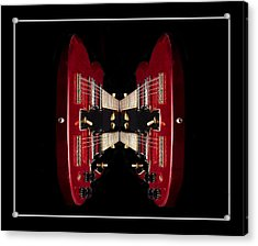 Duo-neck Red Guitar Acrylic Print by Trudy Wilkerson
