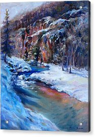 Acrylic Print featuring the painting Durango Stream by Bonnie Goedecke