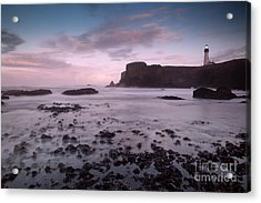 Dusk At Yaquina Head Lighthouse Acrylic Print by Keith Kapple