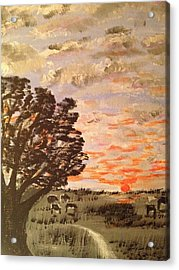 Acrylic Print featuring the painting Dusk by Brindha Naveen