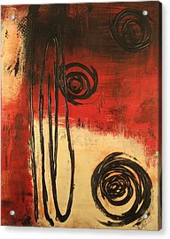 Acrylic Print featuring the painting Dynamic Red 1 by Kathy Sheeran