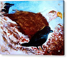 Eagle And Ravens Acrylic Print by Seth Weaver