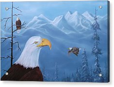 Eagles In The Tetons Acrylic Print