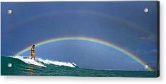 Ealy Morning Rainbow Surf Acrylic Print by Li Ansefelt Thornton