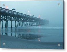 Early Morning Fog At Garden City Pier Acrylic Print by Sandi Blood