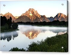 Early Morning Fog Oxbow Bend Acrylic Print by Paul Cannon