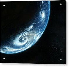 Earth And Moon, Artwork Acrylic Print by Richard Bizley