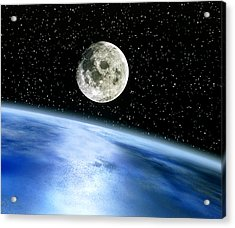 Earth And Moon Acrylic Print by Julian Baum