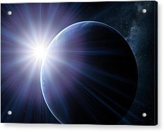 Earth And Sunset From Space, Artwork Acrylic Print by Detlev Van Ravenswaay