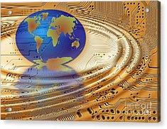Earth In The Printed Circuit Acrylic Print by Michal Boubin