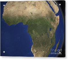 Earth Showing Landcover Over Africa Acrylic Print by Stocktrek Images