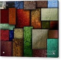 Earth Tone Texture Square Patterns Acrylic Print by Angela Waye
