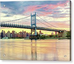 East River Sunset Over Triboro Bridge Acrylic Print by Tony Shi Photography