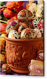 Easter Eggs In Flower Pot Acrylic Print by Garry Gay