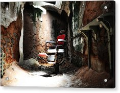 Eastern State Penitentiary - Barber's Chair Acrylic Print by Bill Cannon