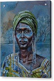 Ebony Girl Acrylic Print by Mohamed Fadul