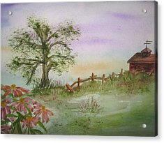 Echinacea And Crooked Fence Acrylic Print by Ellen Levinson