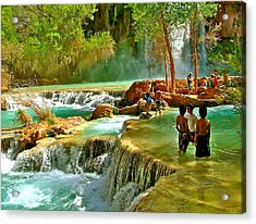 Eden's Terraced Falls Acrylic Print by Brent Sisson