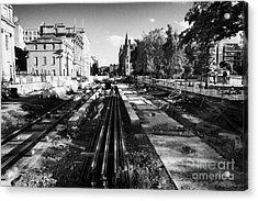 Edinburghs New Tram System Under Construction In St Andrews Square Scotland Uk United Kingdom Acrylic Print by Joe Fox