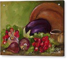 Eggplant And Radishes Acrylic Print
