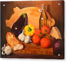 Acrylic Print featuring the painting Eggplant Parmigiana by Joe Bergholm
