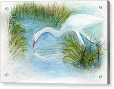 Acrylic Print featuring the painting Egret Fishing Creek by Doris Blessington