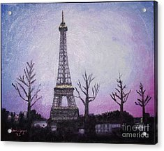 Eiffel At Night Acrylic Print