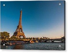 Eiffel Tower And Bridge Acrylic Print by (C) Thanachai Wachiraworakam