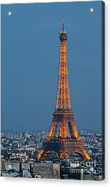 Eiffel Tower At Dusk Acrylic Print by Kim Wilson