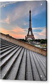 Eiffel Tower At Sunrise, Paris Acrylic Print by Romain Villa Photographe