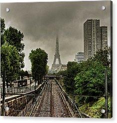 Eiffel Tower In Clouds Acrylic Print by Stéphanie Benjamin