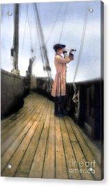 Eighteenth Century Man With Spyglass On Ship Acrylic Print by Jill Battaglia