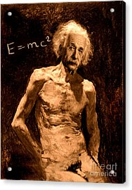Einstein Relatively Nude Acrylic Print by Karine Percheron-Daniels