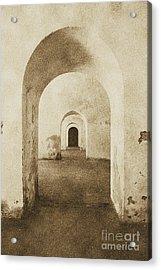 El Morro Fort Barracks Arched Doorways Vertical San Juan Puerto Rico Prints Vintage Acrylic Print by Shawn O'Brien