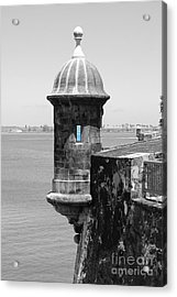 Acrylic Print featuring the photograph El Morro Sentry Tower Color Splash Black And White San Juan Puerto Rico by Shawn O'Brien
