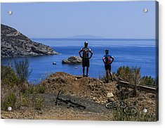 Elba Island - Mtb Bikers Looking The Far Away Island - Ph Enrico Pelos Acrylic Print