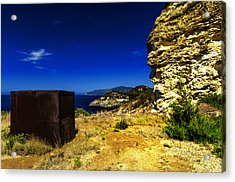Acrylic Print featuring the photograph Elba Island - Rusty Iron Cube Landscape - Ph Enrico Pelos by Enrico Pelos