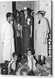 Eleanor Roosevelt Visiting A Wpa Works Acrylic Print by Everett