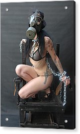 Electric Chair - Bound N Chained Acrylic Print by Liezel Rubin
