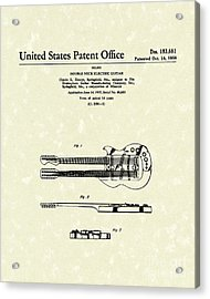 Electric Guitar 1958 Patent Art Acrylic Print by Prior Art Design