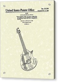 Electric Guitar 1968 Patent Art  Acrylic Print by Prior Art Design