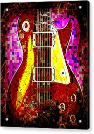 Electric Guitar Abstract Acrylic Print by David G Paul