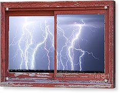 Electric Skies Red Barn Picture Window Frame Photo Art  Acrylic Print by James BO  Insogna