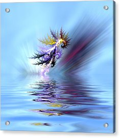 Electrified Seahorse Acrylic Print by Sharon Lisa Clarke