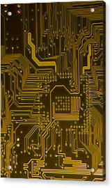Electronic Highway Yellow Acrylic Print by David Paul Murray